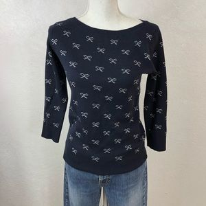 Ann Taylor Navy Bow Wool Sweater Knit Small